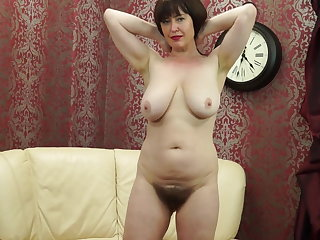 Gaping Posh MOM with big saggy tits and hairy pussy