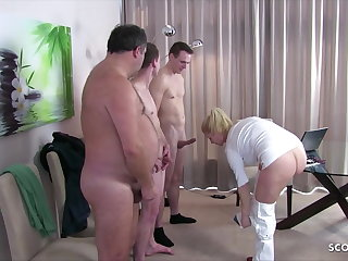 High Heels German Female MILF Doctor Kissi Kiss Group Sex at Check Up