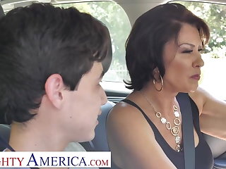 Lactating Naughty America Mrs. Fuller (Vanessa Videl) teaches Juan how