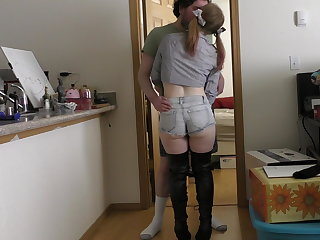 High Heels 19 princess booty shorts over the knee boots fucked & facial