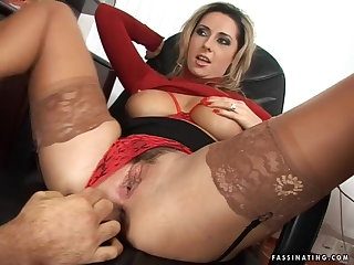 Nylon Secretary Mandy in red high heel sandals screws her boss