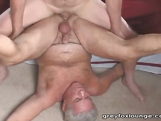 Lovely grandpa sucking & getting fucked by younger guy