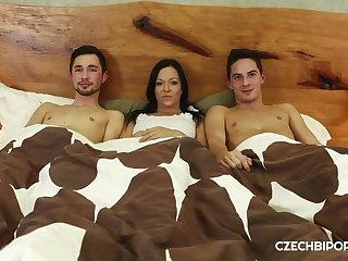 Czech Good looking boys share hot brunette