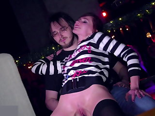 Gothic Jeny Smith bottomless in a disco