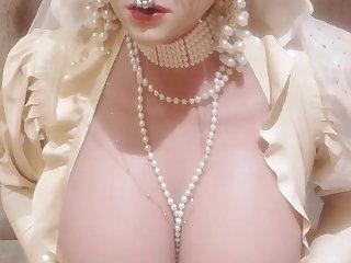 Latex pierced rubber shemale bride