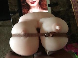 Interracial Christina Hendricks Big Tits Titfuck Cum Tribute
