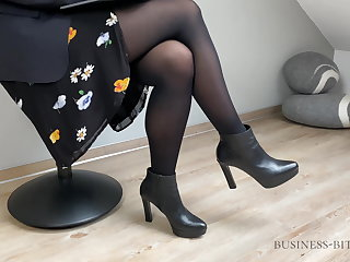 Danish business meeting ends with cum on pantyhose -business-bitch