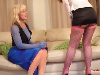 Nylon Red XXX and her girlfriend fuck while wearing nylons