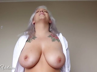 JOI M0M's dripping pussy on Son's bare cock as gift for Birthday