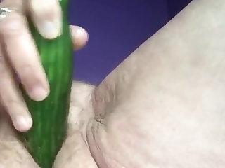 Slutty Granny Fucks Pussy With Cucumber Part #1