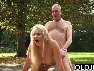 Showers Old and Young Porn - BustyTeen Gets Wet and Sucks Grandpa